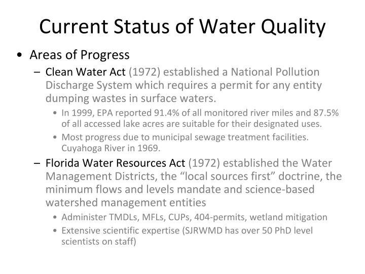 Current Status of Water Quality