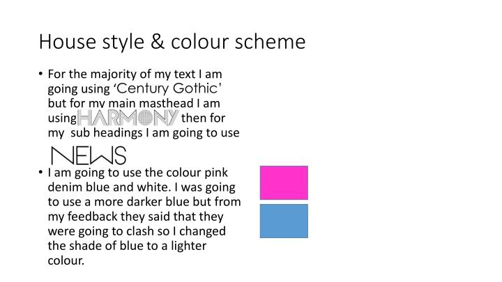 House style & colour scheme