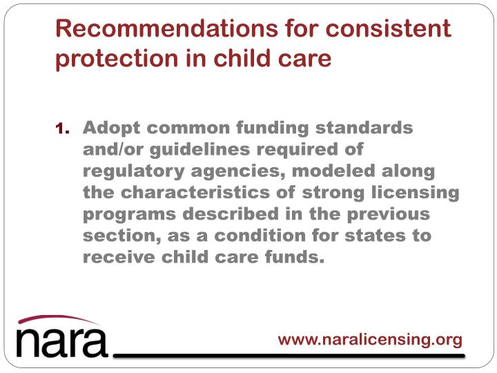 Recommendations for consistent protection in child care