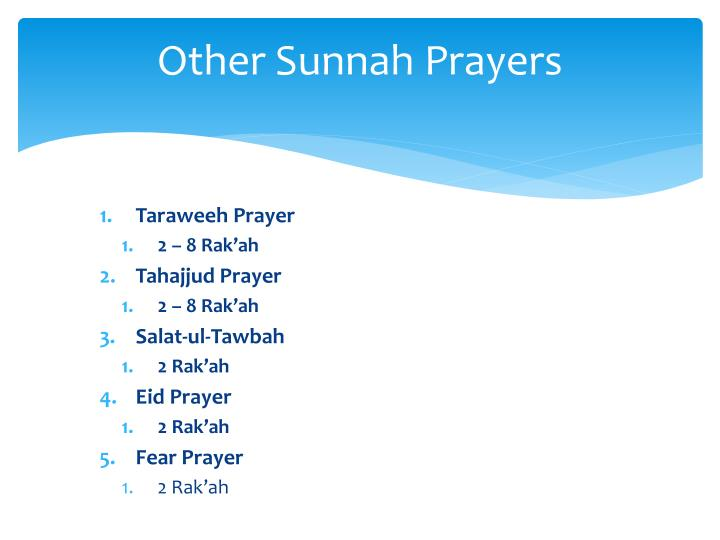 Other Sunnah Prayers