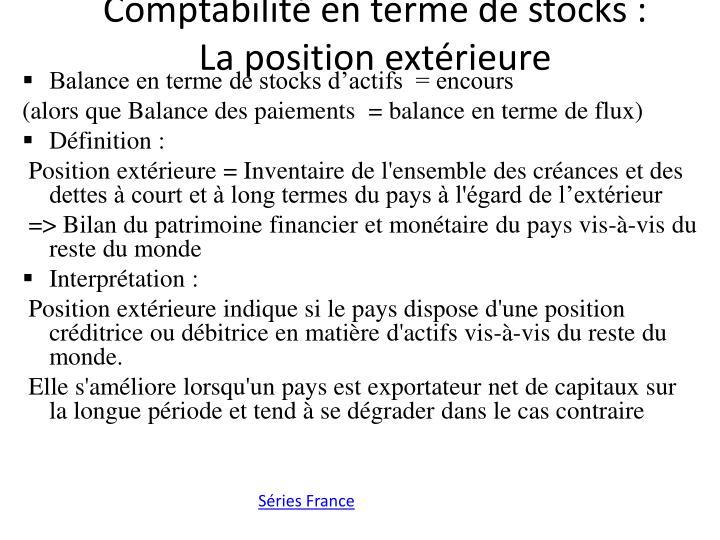 Comptabilité en terme de stocks :