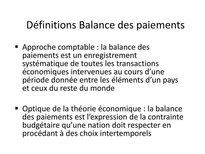 Définitions Balance des paiements