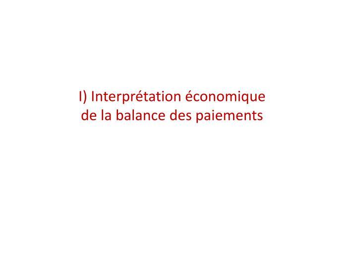 I) Interprétation économique