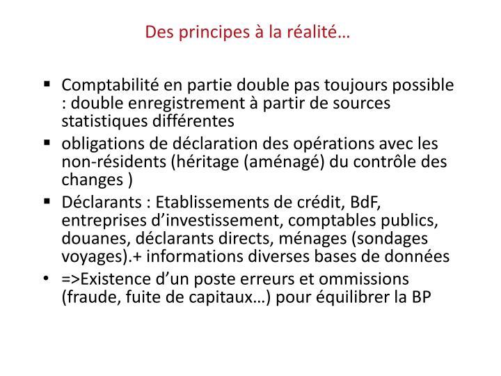 Des principes à la réalité…