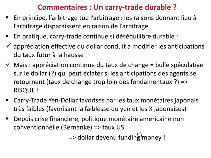 Commentaires : Un carry-trade durable ?