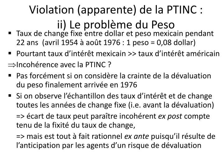 Violation (apparente) de la PTINC :