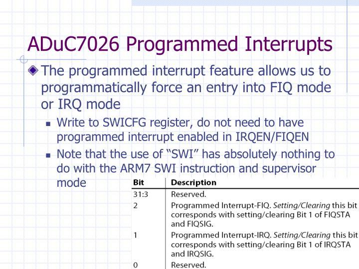 ADuC7026 Programmed Interrupts