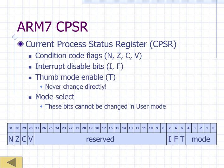 ARM7 CPSR