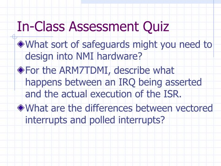 In-Class Assessment Quiz