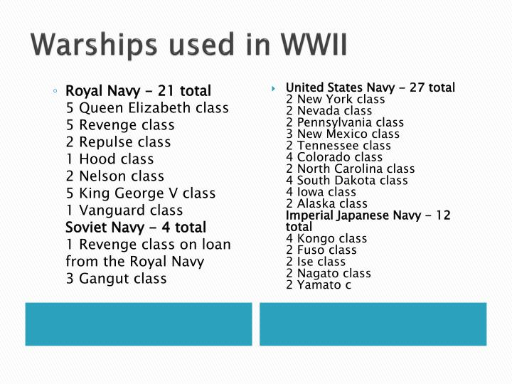 Warships used in WWII