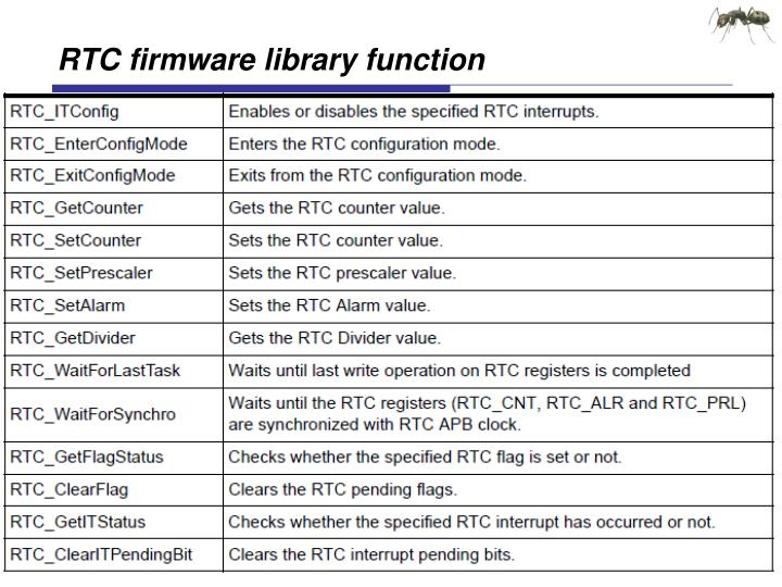 RTC firmware library function