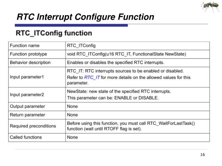 RTC Interrupt Configure Function