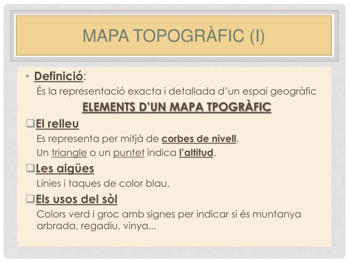 Mapa topogràfic (I)
