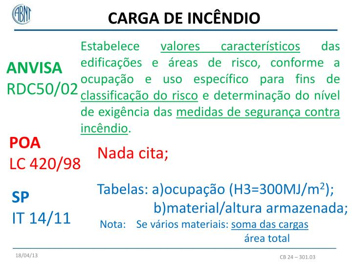 CARGA DE INCÊNDIO