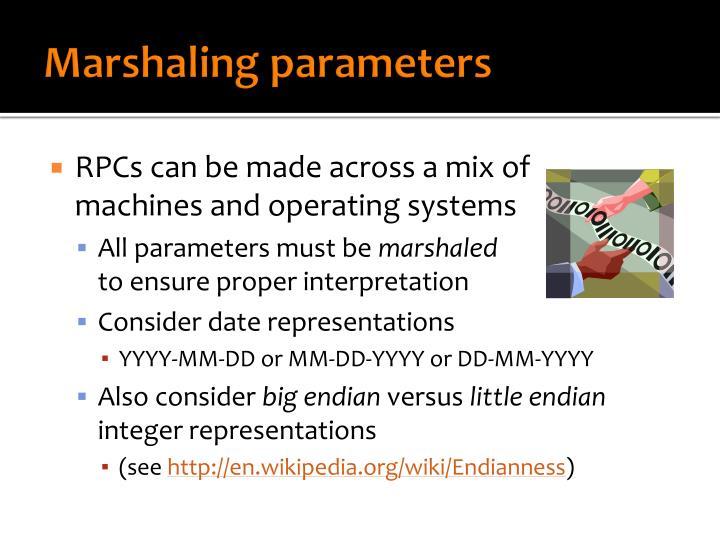 Marshaling parameters