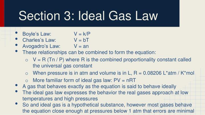 Section 3: Ideal Gas Law