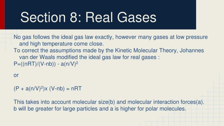 Section 8: Real Gases