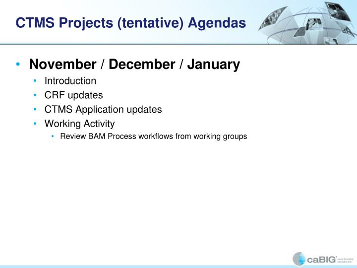 CTMS Projects (tentative) Agendas
