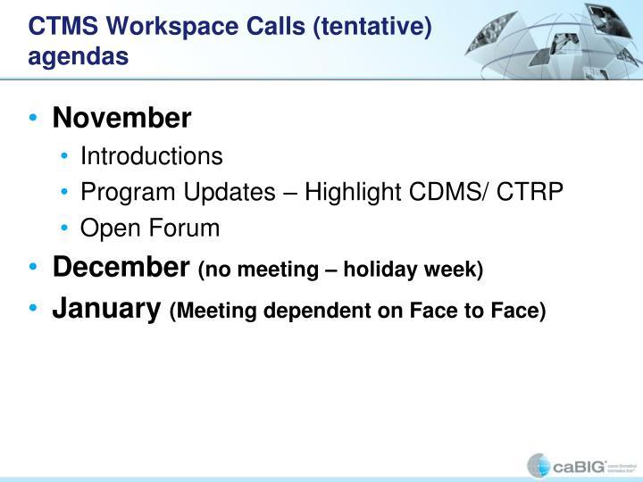 CTMS Workspace Calls (tentative) agendas