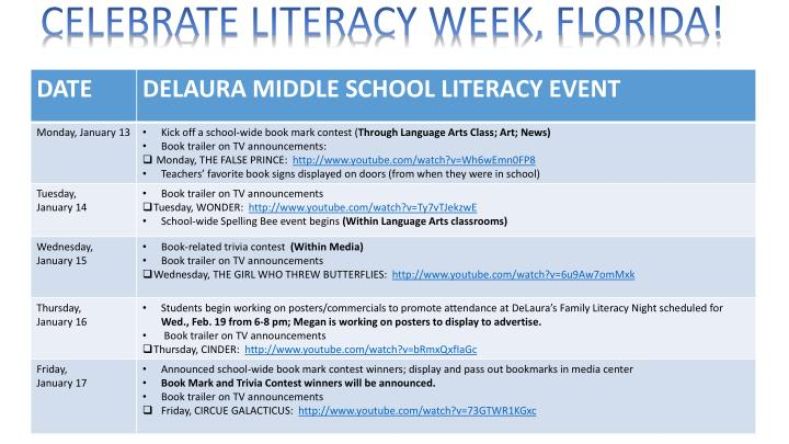 CELEBRATE LITERACY WEEK, FLORIDA!