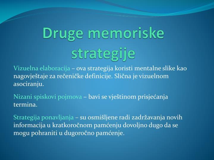 Druge memoriske strategije