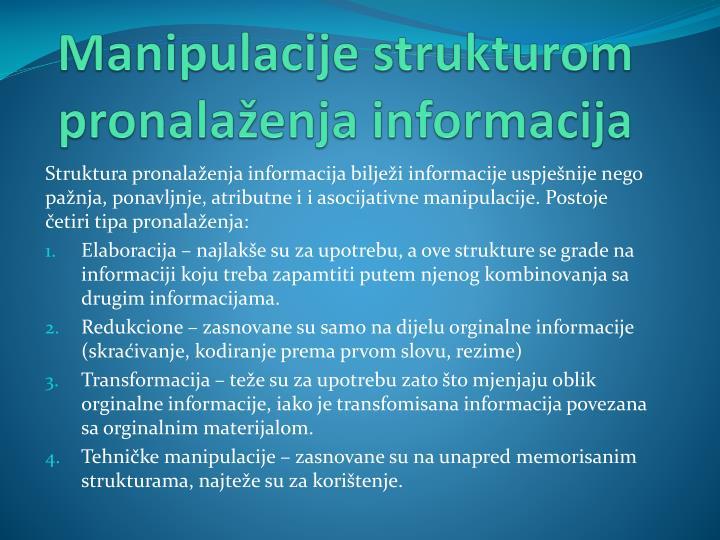 Manipulacije strukturom pronalaženja informacija