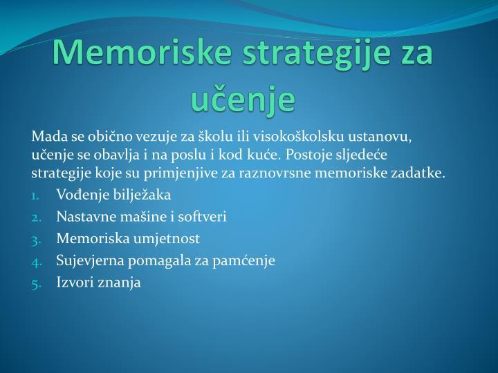 Memoriske strategije za učenje