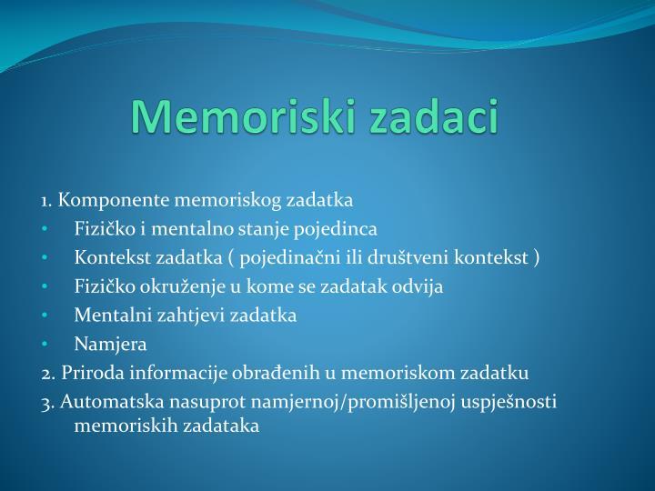 Memoriski zadaci