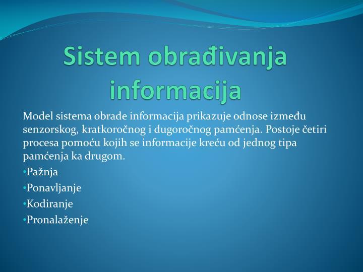 Sistem obrađivanja informacija