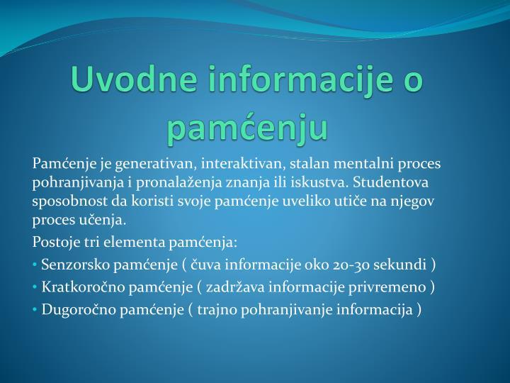 Uvodne informacije o pamćenju