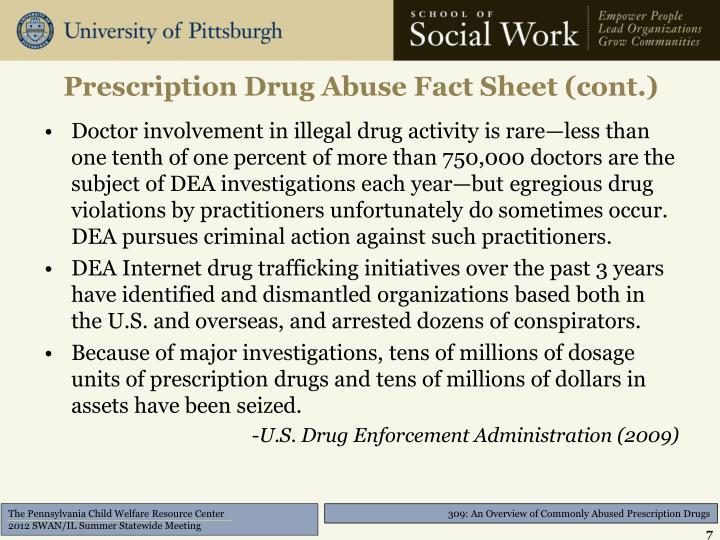 Prescription Drug Abuse Fact Sheet (cont.)