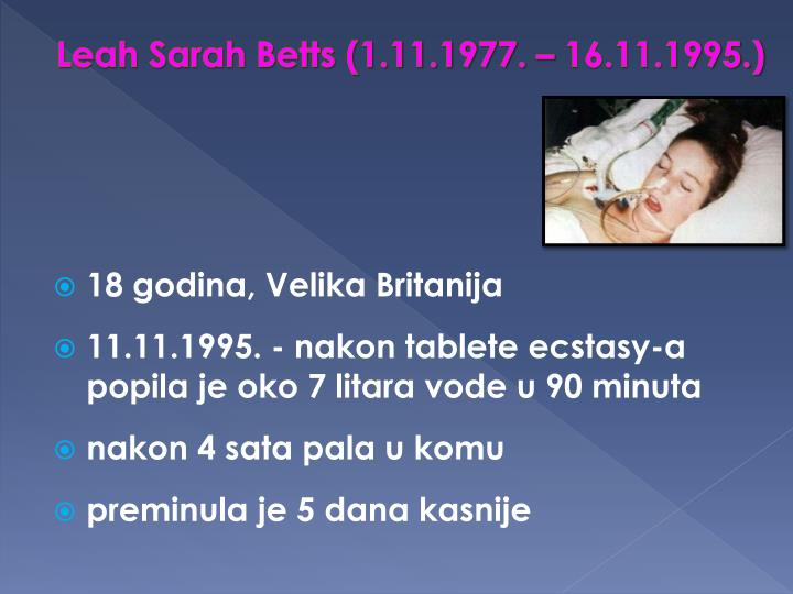 Leah Sarah Betts (1.11.1977. – 16.11.1995.)
