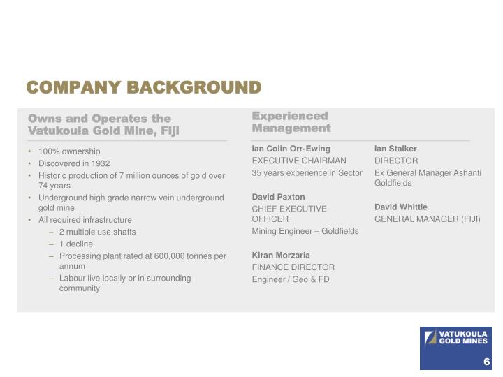 COMPANY BACKGROUND