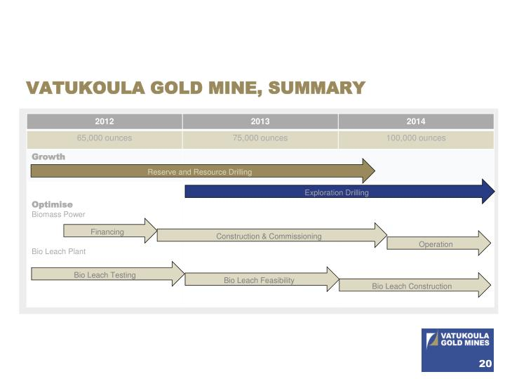 VATUKOULA GOLD MINE, SUMMARY