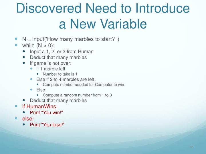 Discovered Need to Introduce a New Variable