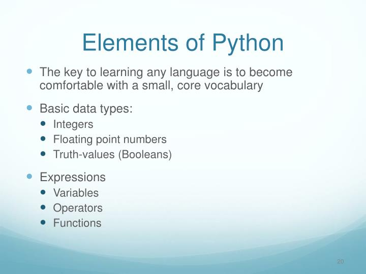 Elements of Python