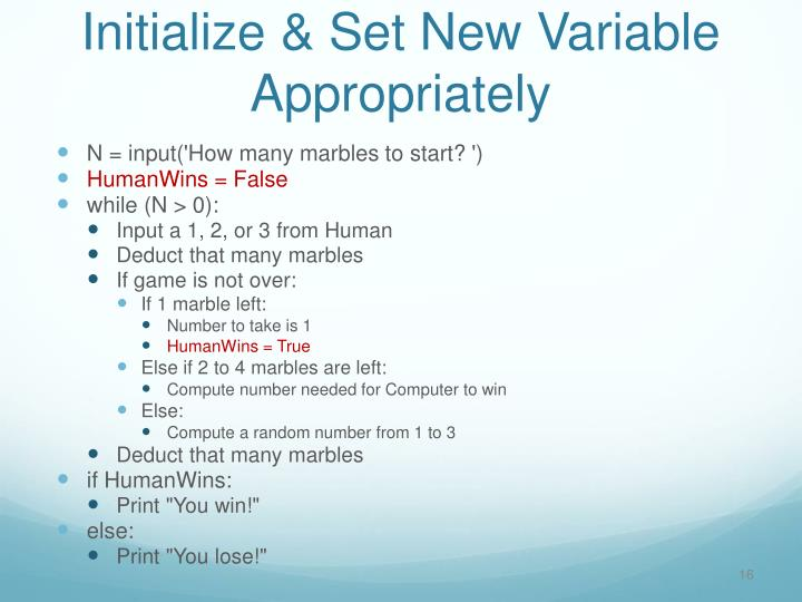 Initialize & Set New Variable Appropriately