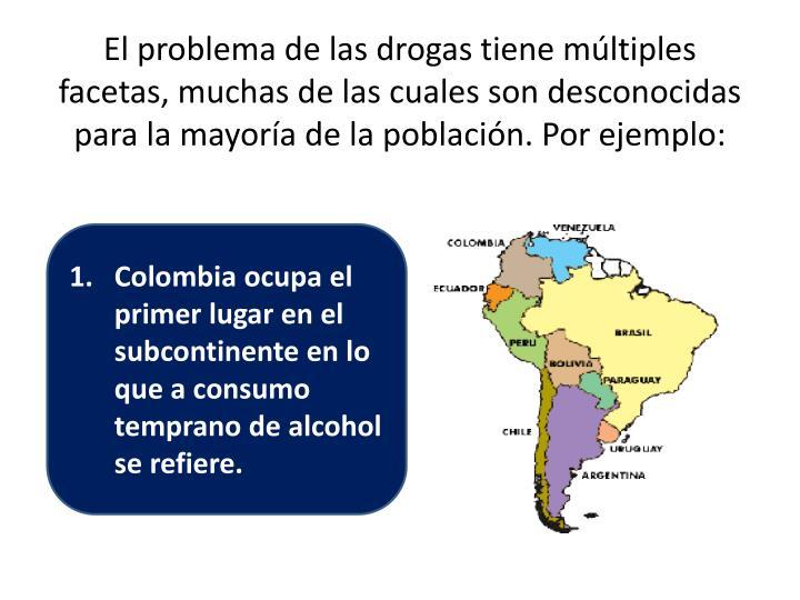 El problema de las drogas tiene múltiples facetas, muchas de las cuales son desconocidas para la mayoría de la población. Por ejemplo: