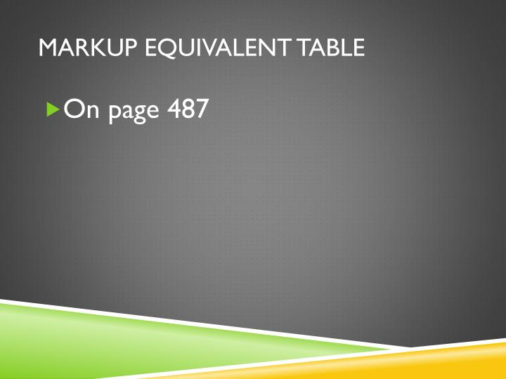 Markup Equivalent table