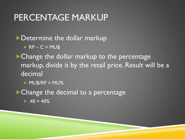 Percentage Markup
