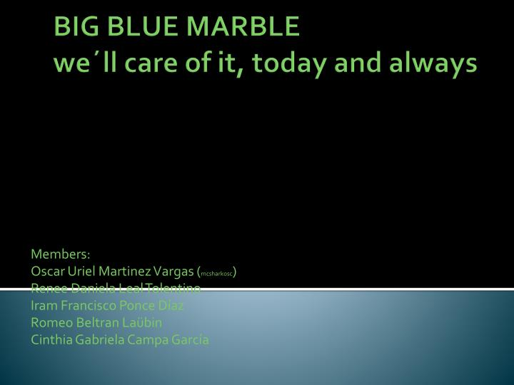 big blue marble we ll care of it today and always