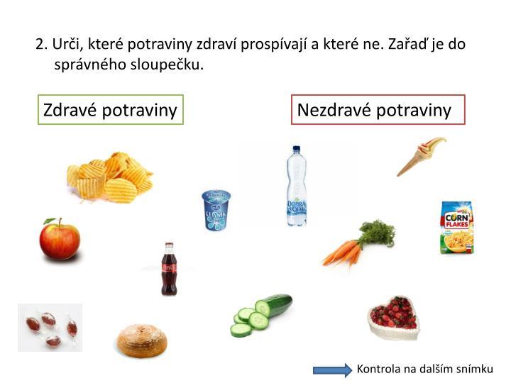 2. Urči, které potraviny zdraví prospívají a které ne. Zařaď je do