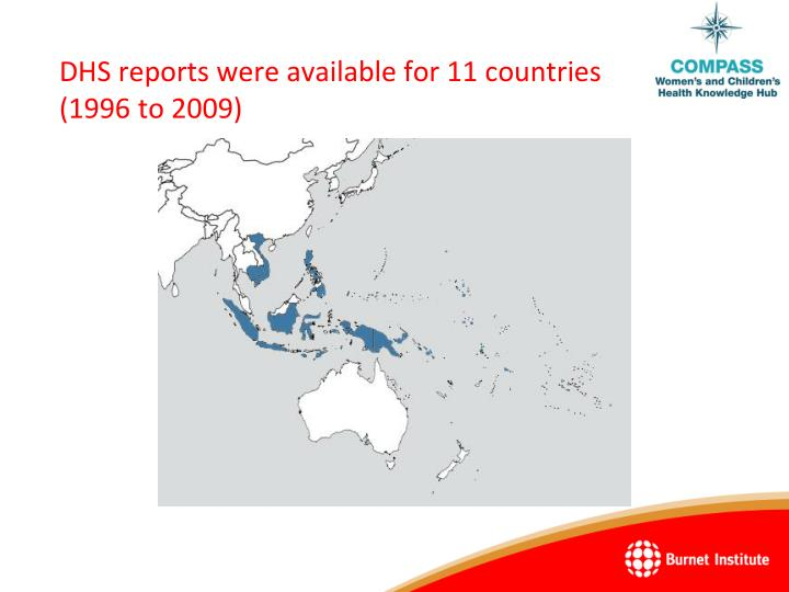 DHS reports were available for 11 countries (1996 to 2009)
