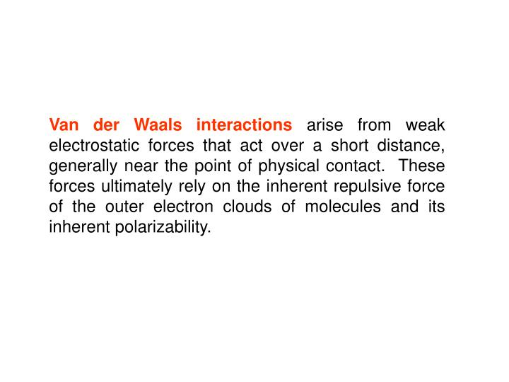 Van der Waals interactions