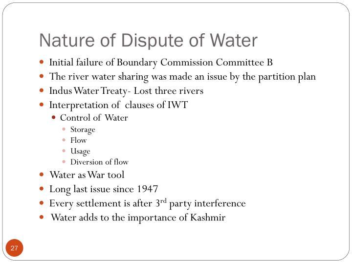 Nature of Dispute of Water