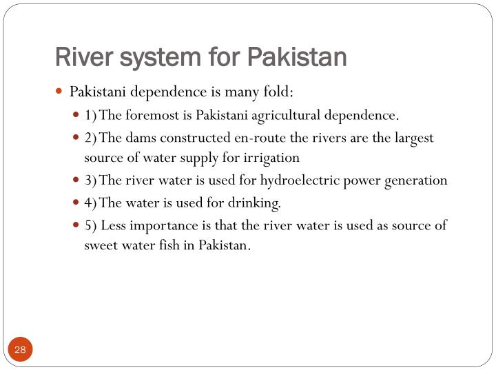 River system for Pakistan