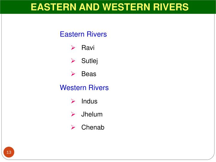 EASTERN AND WESTERN RIVERS