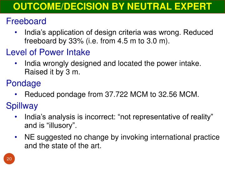 OUTCOME/DECISION BY NEUTRAL EXPERT