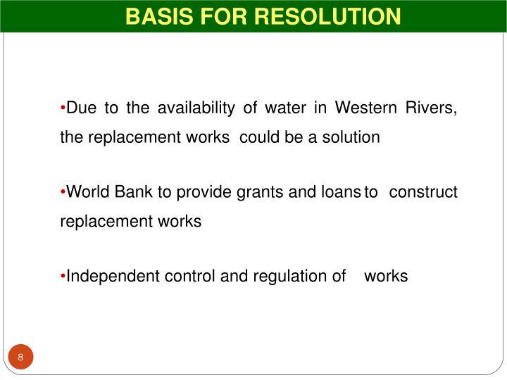 BASIS FOR RESOLUTION