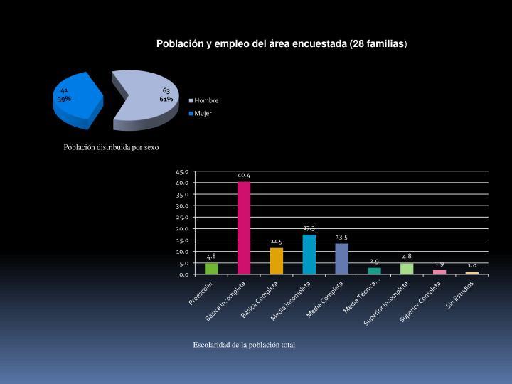 Población y empleo del área encuestada (28 familias